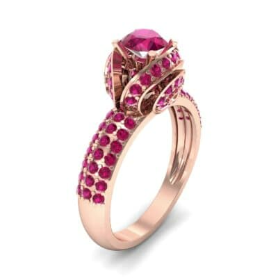 Triple Pave Grotto Ruby Engagement Ring (1.31 CTW)
