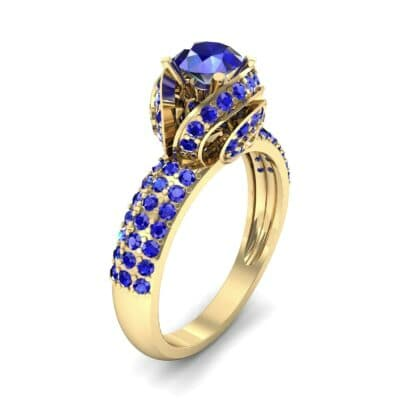 Triple Pave Grotto Blue Sapphire Engagement Ring (1.31 CTW)