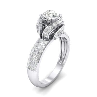 Triple Pave Grotto Diamond Engagement Ring (1.31 CTW)