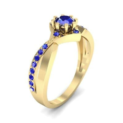 Natale Cross Shank Blue Sapphire Engagement Ring (0.88 CTW)