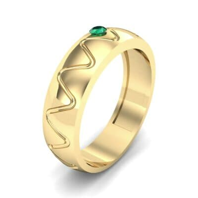 Wide Etch Emerald Ring (0.04 CTW)