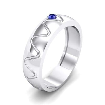 Wide Etch Blue Sapphire Ring (0.04 CTW)