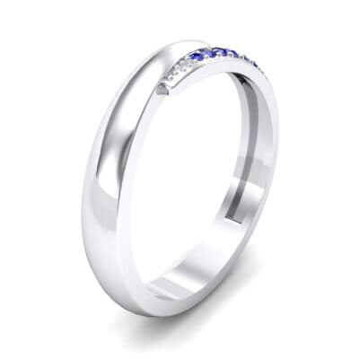Caress Solitaire  Blue Sapphire Ring (0.07 CTW)